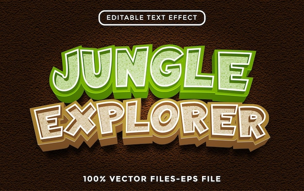 Effet de texte jungle explorer, dessin animé modifiable et style de texte de la forêt vecteur premium