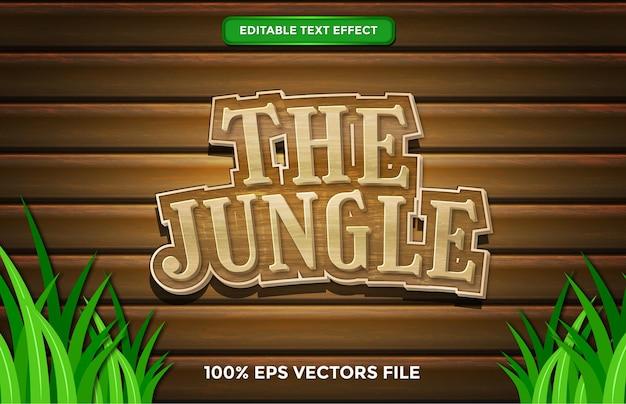 L'effet de texte jungle, le style de texte modifiable de dessin animé et de forêt vecteur premium