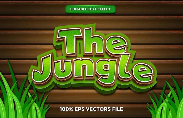 L'effet de texte de la jungle, le style de texte modifiable de dessin animé et de forêt vecteur premium