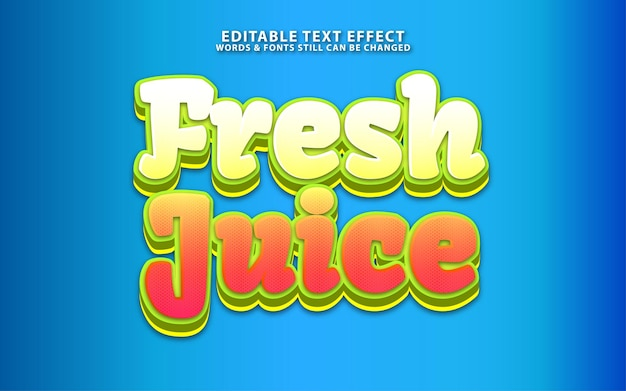 Effet de texte de jus de fruits frais