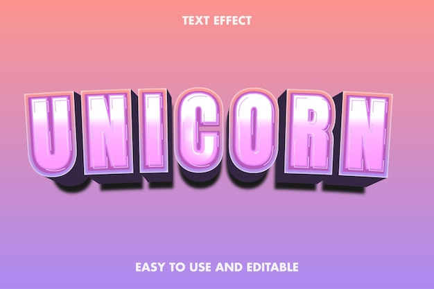 Effet de texte - licorne. modifiable et facile à utiliser.