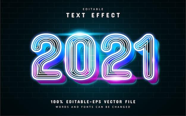 Effet de texte de ligne rougeoyante au néon 2021