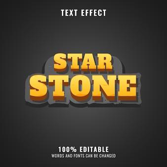 Effet de texte de logo de jeu 3d fantaisie de pierre d'étoile d'or