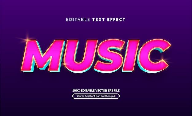 Effet de texte de lueur 3d de musique effet de texte modifiable