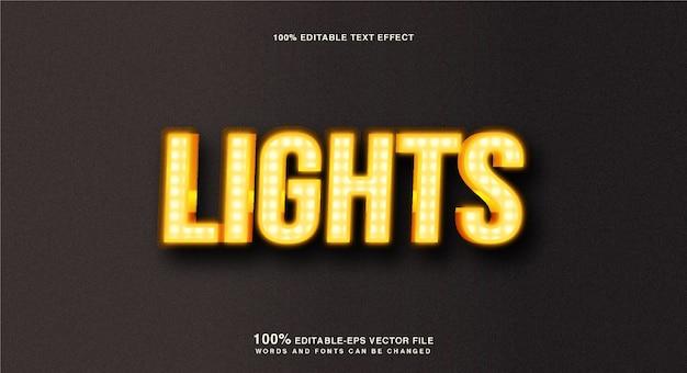 Effet de texte de lumières dorées