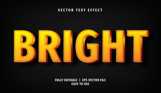 Effet de texte lumineux jaune 3d, style de texte modifiable