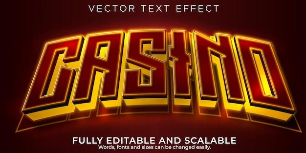 Effet de texte de machine à sous de casino, gagnant modifiable et style de texte de jeu