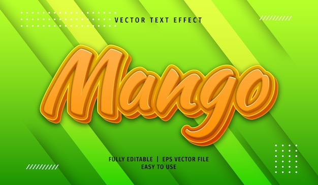 Effet de texte mangue 3d, style de texte modifiable