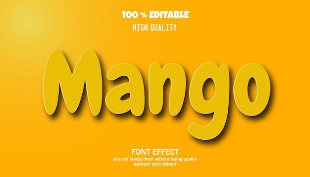 Effet de texte de mangue. police modifiable