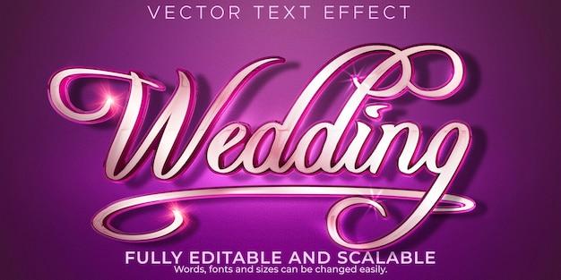 Effet de texte de mariage de mariage mariée modifiable et style de texte élégant