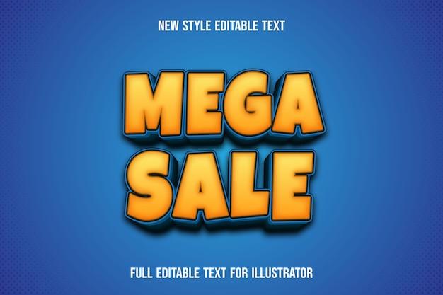 Effet de texte méga vente couleur dégradé jaune et bleu