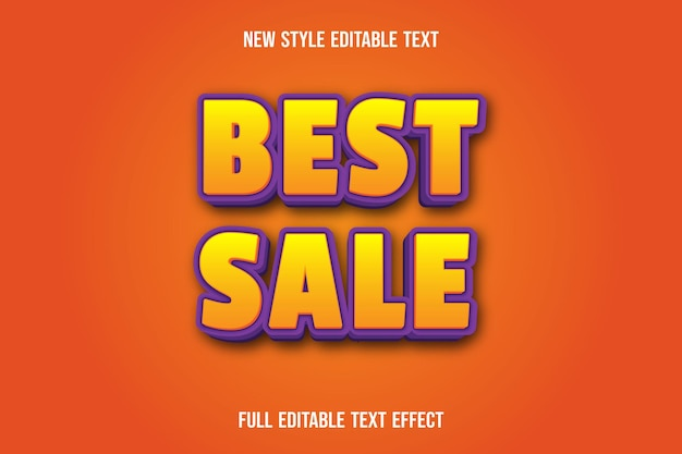 Effet de texte meilleure vente couleur jaune et violet