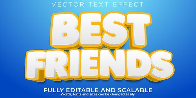 Effet de texte des meilleurs amis, dessin animé modifiable et style de texte comique