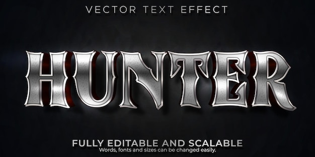 Effet de texte métallique hunter, style de texte brillant et guerrier modifiable