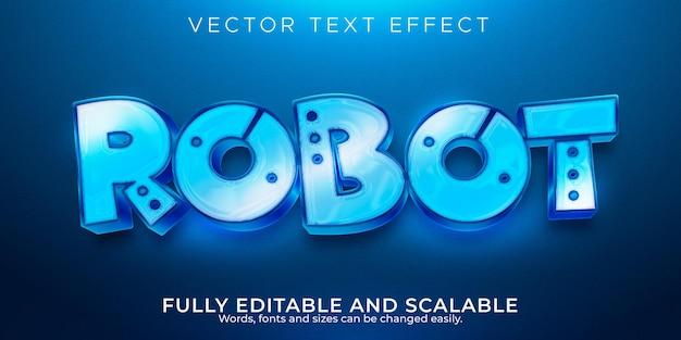 Effet de texte métallique de robot, technologie modifiable et style de texte brillant
