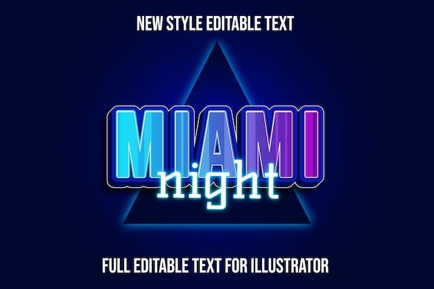 Effet de texte miami nuit couleur bleu et dégradé de nuit
