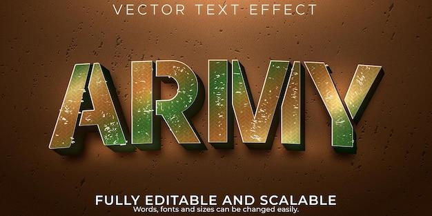 Effet de texte militaire de l'armée style de texte modifiable de camouflage et de soldat