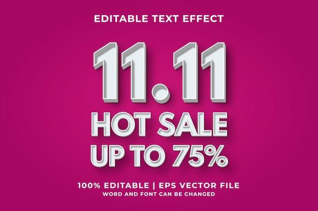 Effet de texte modifiable - 11.11 vente chaude modèle 3d vecteur premium