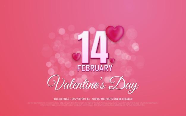 Effet de texte modifiable, 14 février illustrations de style saint-valentin