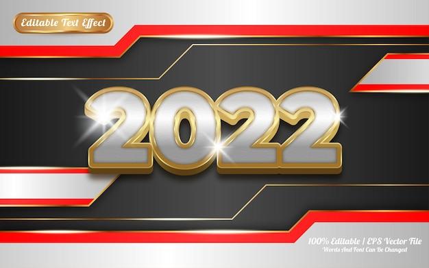 Effet de texte modifiable 2022 sur le thème doré