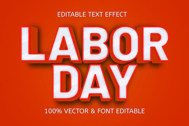 Effet de texte modifiable en 3 dimensions de style gaufrage de la fête du travail