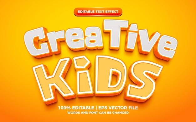 Effet de texte modifiable 3d audacieux de dessin animé pour enfants créatifs