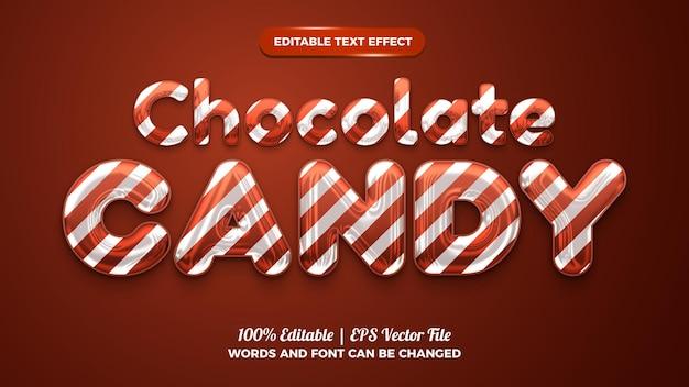 Effet de texte modifiable en 3d de bonbons au chocolat liquide