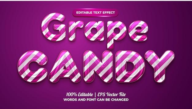 Effet de texte modifiable en 3d de bonbons au raisin liquide