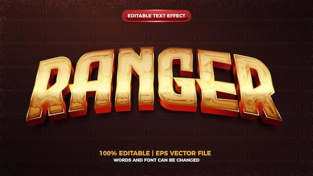 Effet de texte modifiable 3d brillant de héros de garde forestier d'or