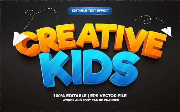 Effet de texte modifiable 3d de dessin animé pour enfants créatifs