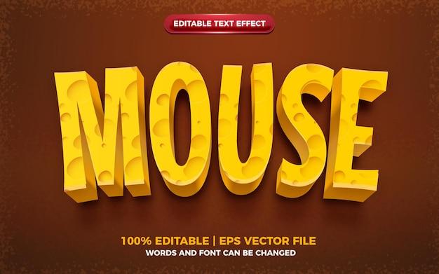 Effet de texte modifiable en 3d de dessin animé de souris de fromage