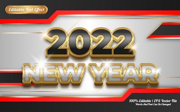 Effet de texte modifiable 3d doré du nouvel an 2022