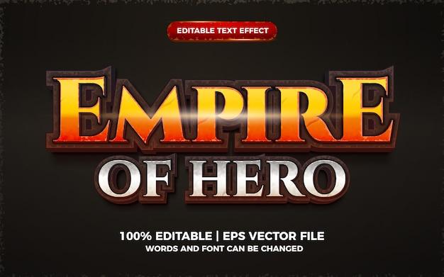 Effet de texte modifiable en 3d du jeu de dessin animé empire of hero