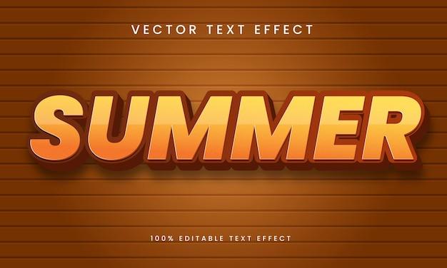 Effet de texte modifiable 3d d'été vecteur premium