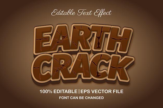 Effet de texte modifiable 3d de fissure de la terre