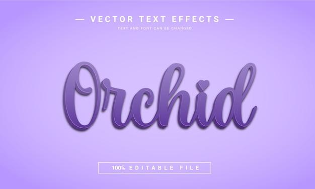 Effet de texte modifiable en 3d de fleur d'orchidée