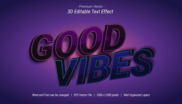 Effet de texte modifiable 3d good vibes