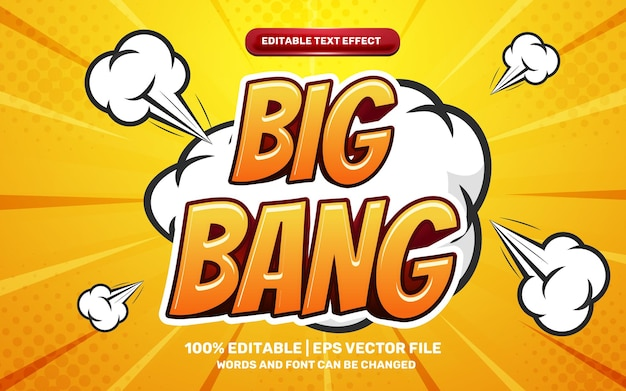 Effet de texte modifiable en 3d de héros de bande dessinée comique de big bang