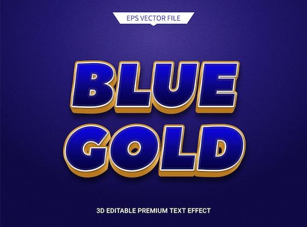 Effet de texte modifiable 3d luxueux bleu foncé et doré