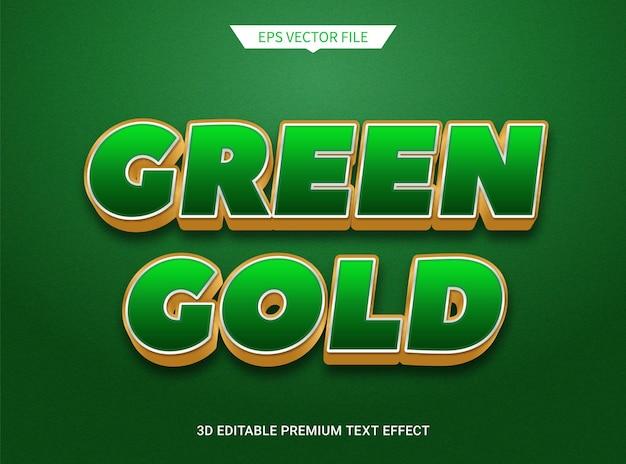 Effet de texte modifiable 3d luxueux vert foncé et doré