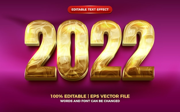 Effet de texte modifiable 3d moderne en or liquide de luxe 2022