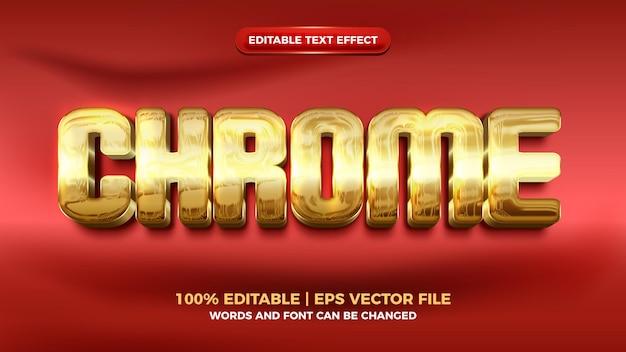 Effet de texte modifiable 3d moderne en or de luxe chromé