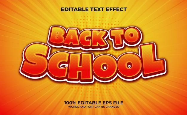 Effet de texte modifiable 3d moderne de retour à l'école vecteur premium