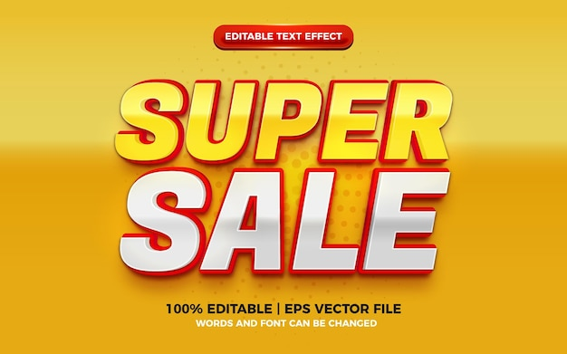 Effet de texte modifiable 3d moderne rouge jaune super vente