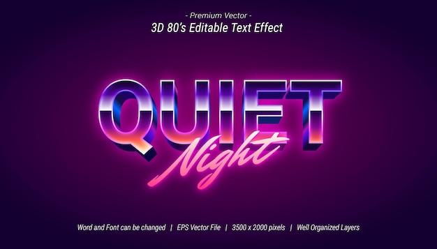 Effet de texte modifiable 3d quiet night