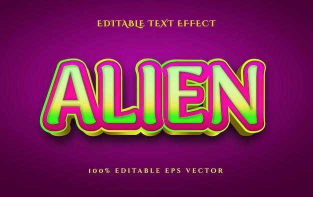 Effet de texte modifiable en 3d de style d'animation multi-couleurs extraterrestre