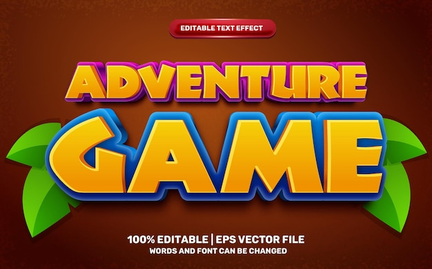 Effet de texte modifiable en 3d de style bande dessinée de jeu d'aventure