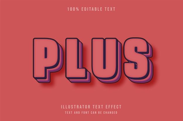 Effet de texte modifiable 3d style rétro violet rouge