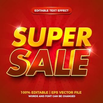 Effet de texte modifiable 3d super vente or rouge gras