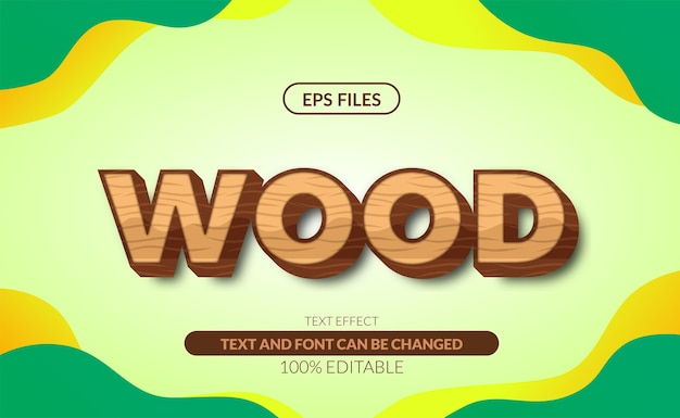 Effet de texte modifiable 3d de texture bois.